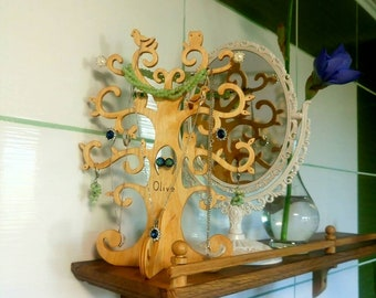 Jewelry holder Wooden tree birds owls Standing tree Personalized Christmas gift  Ear ring holder Jewelry Storage Organizer