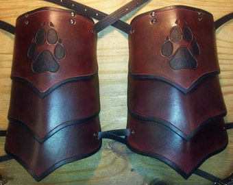 Leather Armor Wolf Prints Segmented Shoulders