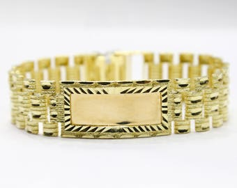 10K Gold Thick Nugget ID Bracelet