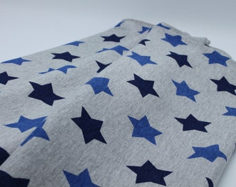 Grey Jersey with Dark and Mid Blue Stars, 100% Cotton,