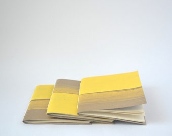 Yellow and Gold Painted Soft Cover Notebook, Summer Hand Bound Journal, Quick Notes Journal
