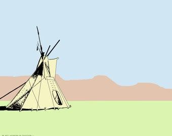 Plain Folk: Teepee Digital Print Great Plains