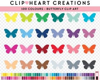 100 butterfly clip art, Commercial use, PNG, Digital clip art, Digital images, Rainbow digital scrapbooking clip art, butterflies clip art