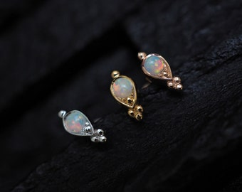 White opal in teardrop casting trinity ball screw flat back cartilage stud,helix earring,lip ring,medusa piercing,conch earring