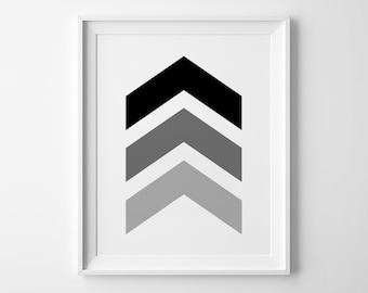 Chevron Print, Geometric Decor, Nursery Decor, Wall Art, Kids Room Decor, Black and White, Scandinavian Poster, Nursery Prints