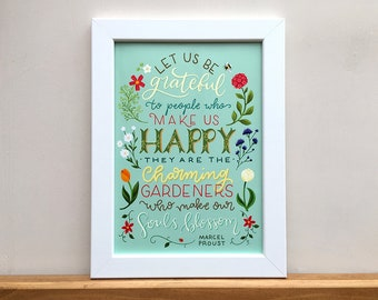 Charming Gardeners, A4 print, illustrated and hand lettered digital artwork.