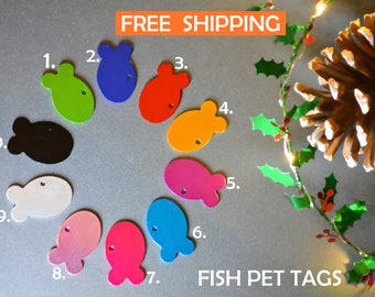 Cat fish pet tag | Cat ID personalised - cat tag with a bell, dog tag, pet id engraved - Cat and dog collar tag -  gift