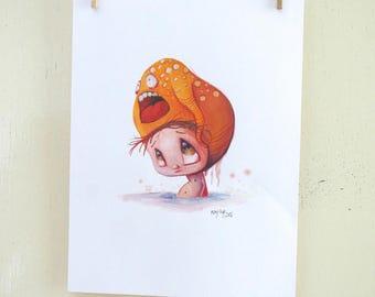 "original illustration ""Hat 22"" (oil on paper painting)"