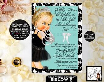 "Baby and Co Birthday Invitations, Audrey Hepburn Inspired, Brunch Princess, Silver Tiara, Pearls Little Black Dress. Printable, 5x7"" Gvites."