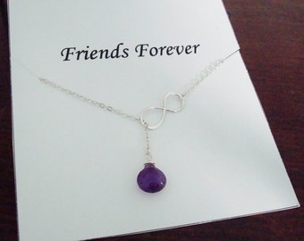 Infinity & Amethyst Briolette Silver Lariat Necklace ~~Personalized Jewelry Gift for Friend, Sister of Groom and Bride, Bridal, Graduation