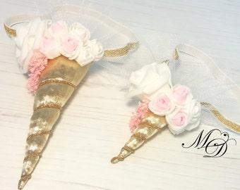 Gold and pink unicorn headband Girls headband Unicorn First Birthday newborn Unicorn headband Unicorn Crown headband Valentine's day party