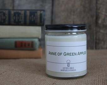 Anne of Green Apples - Book Inspired Scented Soy Candles -  8oz glass jar