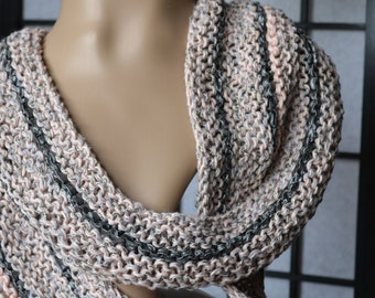 Grey Pink Summer Infinity Scarf, Textured Scarf ,Hand Knit Scarf, Chunky Knit Scarf