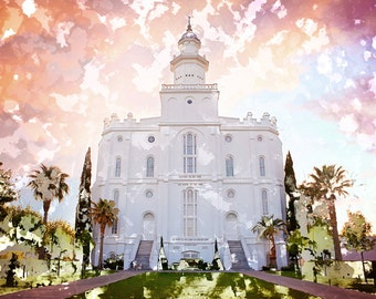St. George Temple at Sunset Abstract Watercolor