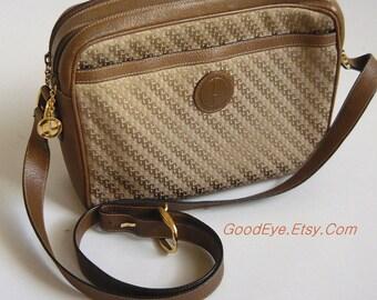 Vintage GUCCI Shoulder Bag / CrossBody 1980s Leather n Canvas Purse LOGO Bag / Medium size made Italy / Khaki Tan Beige Brown
