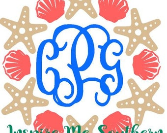 Starfish Ring Monogram - Beach Monograms - Sand buckets, Toy Organizer, Personalized Umbrella
