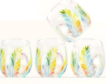 Feathers Wine Glasses Rainbow Feathers Stemless Wine Glasses Gay Wedding Glasses Monogrammed Gay Gift LGBTQ Wedding Gay Wedding Gifts