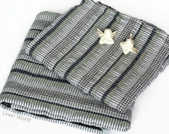 Striped Waffle Linen Bath Towels / Linen Cotton Towels / Yoga, Sauna Sheet / Beach Towel / Grey Black Men's Towel / Flax Linen Travel Towel