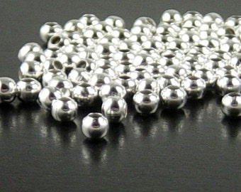 REDUCED Bead Spacer 200 Balls Silver Color Round 3.2mm - 4mm (1013spa03s1)xz