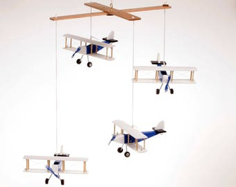 Airplane baby mobile, 4 Blue White Black Hanging planes, Decorative wooden airplane, Travel theme nursery, baby shower gift, Nursery Decor