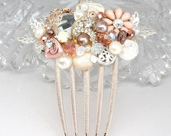 Rose Gold Bridal Comb- Petite Blush Hairpiece- Bridal Hair Accessories- Wedding Hair Accessory- Dusty Pink Bridal Comb- Rose Gold Hair Comb