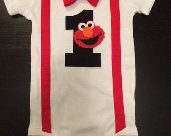 Elmo First Birthday Bow tie Onesie