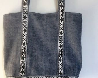 washed linen cotton tote bag, lined