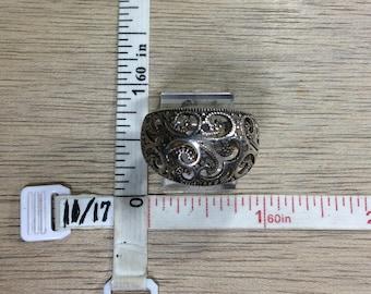 Vintage 925 Sterling Silver 5.8g Ring Size 9 Filigree Design Used
