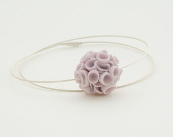 Purple Porcelain Necklace ∙ Dainty Sterling Silver Necklace ∙  Khao-Lak ∙ Porcelain Jewelry ∙Bridal Jewelry ∙ Gift for Her ∙ Wife Gift