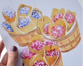 Flower Market Baskets Art Print (Watercolor Illustration - Floral Art Print - Art - Home Decor - Wall Art - Farmhouse Decor)