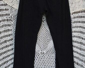 Ladies Black Victorian Lace-Up Capri Leggings - Large
