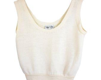 St. John Womens Tank Top Cream Santana Knit Sleeveless Crop Cami Sleeveless Sz S