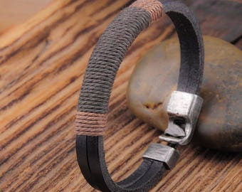 Genuine Leather Cuff Bangle Bracelet Wristband