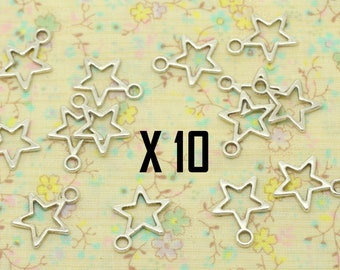 10 charms, hollow perforated card or make hand, silver metal