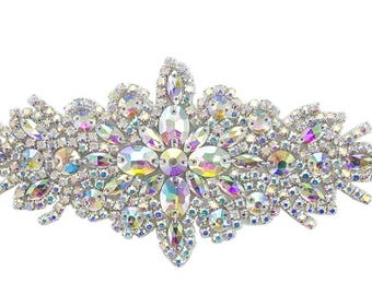 ModaTrims Hot Fix crystal rhinestone applique with ab stones and silver claws- 9 X 3 inches - 1 pc - rhs-apl-422-ab