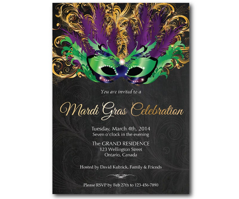 Mardi Gras invitation Mask chalkboard Mardi Gras Party