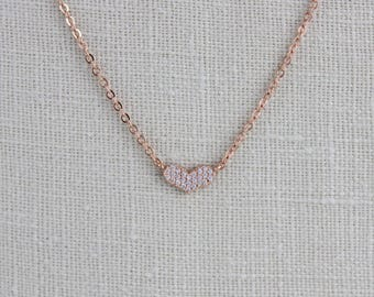 Rose gold necklace, Dainty Rose gold necklace, Heart pendant necklace, Layering jewelry, Bridal necklace, Bridesmaid necklace, Simple