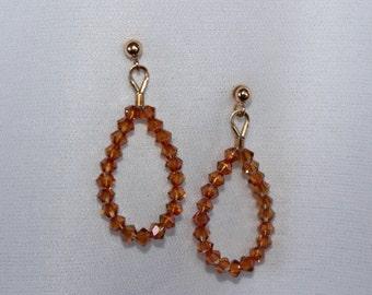 Swarovski Copper Crystal Loop Earrings