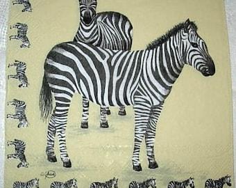 Napkin 2 zebras and little zebras