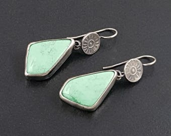 Variscite Earrings, sterling silver, green variscite, dangle earrings, stamped, boho, michele grady jewelry, green stone earrings, green