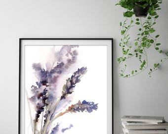 Lavender fine art print, flowers watercolor painting art print, floral botanical wall art print