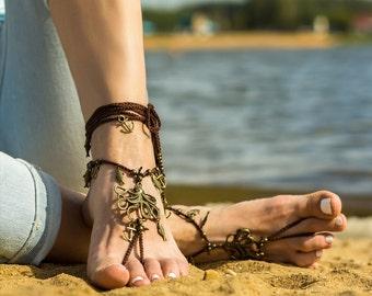 Barefoot sandals Bottomless sandals Foot jewelry barefoot sandal Soleless sandals Bare foot sandals Boho anklet Festival clothing