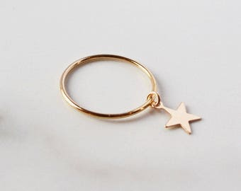 Cuppajyo Starlight Ring, Gold Star Ring, Star Charm Ring, Gold Filled Stacking Ring, Dangle Ring, Star Midi Ring