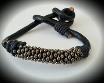 Gunmetal Beaded & Black Leather Bracelet