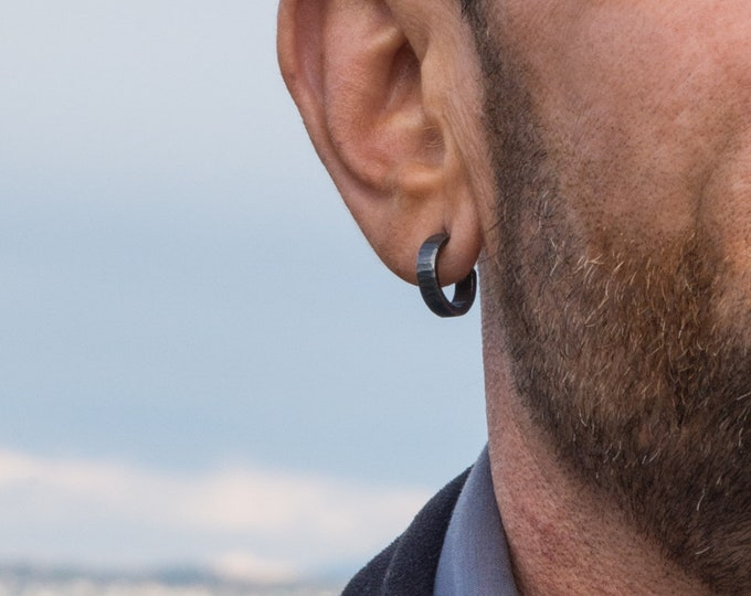 Sterling Silver Hoop Earrings, Oxidized, 16x4mm