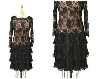 70s 80s Vintage Black Lace Dress Illusion Dress Medium Large by William Pearson// 70s 80s Flapper Dress Lace Pleated Black Party Dress Large