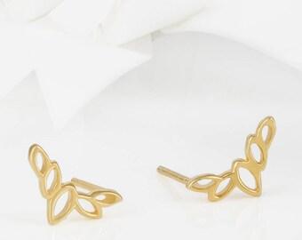 Flor Rose Gold Olive Leaf Stud Earrings