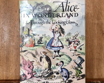 Vintage Alice in Wonderland Through the Looking Glass Hardcover Book // Illustrated Junior Library // Lewis Carroll // Children's Storybook