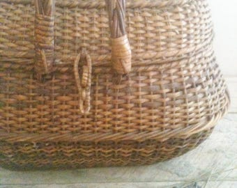 Antique Wicker Sewing Basket from MAINE