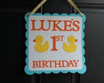 Rubber Duck Door Sign, Rubber Duck Welcome Sign, Rubber Duck Party, Duck Welcome Sign, Duck 1st Birthday